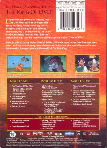the lion king special edition dvd back cover