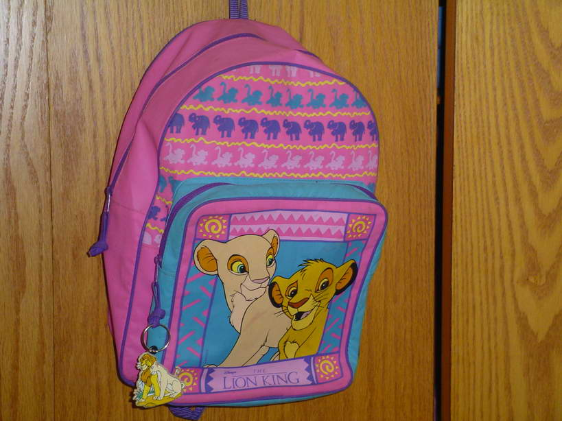 The first Lion King backpack I owned.  I now, after a lucky ebay find, own a total of 10 of these.